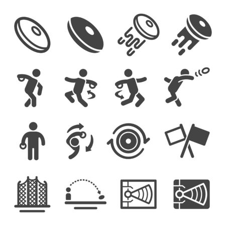 discus throw sport and recreation icon set,vector and illustration