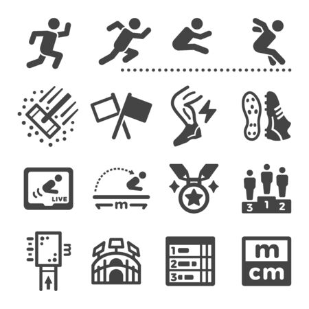 long jump sport and recreation icon set,vector and illustration