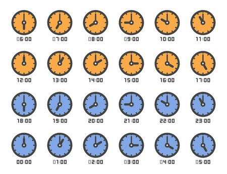 analog clock and time 1 to 24 o'clock icon set,vector and illustration Ilustração