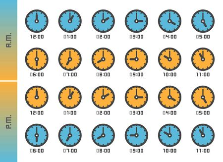 analog clock and time 24 hours icon set,vector and illustration Ilustração