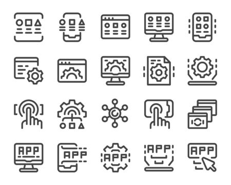application thin line icon set,editable stroke,vector and illustration