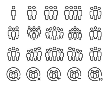 people and population thin line icon set,vector and illustration