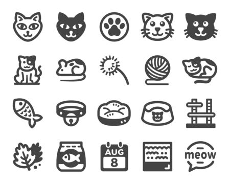 cat icon set,vector and illustration Banco de Imagens - 149803619