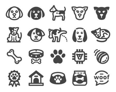 dog icon set,vector and illustration