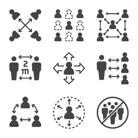 social distancing icon set,vector and illustration
