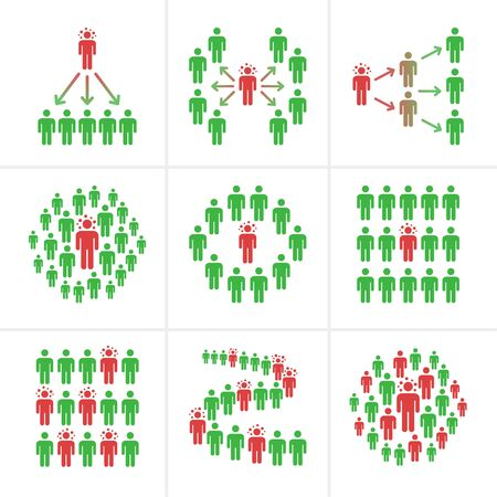 infected person spread coronavirus into the crowds in public areas,colorful vector and illustration for infographic