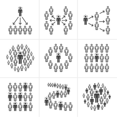 infected person spread coronavirus into the crowds in public areas,people line and solid icon,vector and illustration for infographic