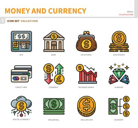 money and currency icon set,filled outline style,vector and illustration Illustration