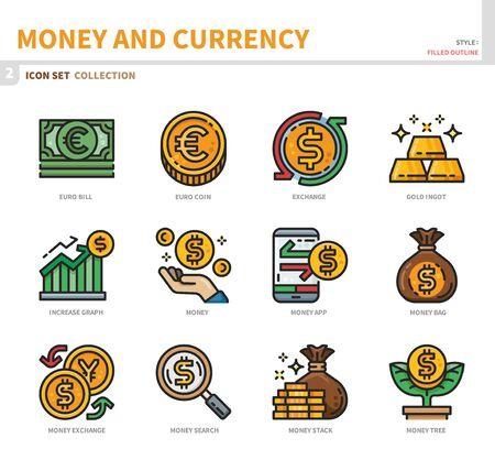 money and currency icon set,filled outline style,vector and illustration Ilustração