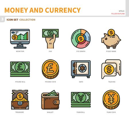 money and currency icon set,filled outline style,vector and illustration Vecteurs