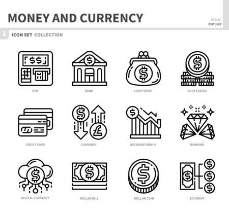 money and currency icon set,outline style,vector and illustration 일러스트