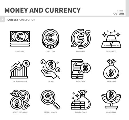 money and currency icon set,outline style,vector and illustration Illustration