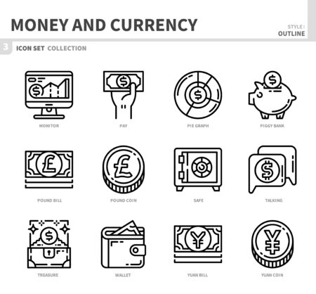 money and currency icon set,outline style,vector and illustration Ilustração