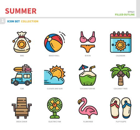 summer season icon set,filled outline style,vector and illustration Banco de Imagens - 150422425