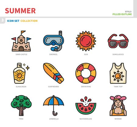 summer season icon set,filled outline style,vector and illustration
