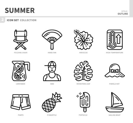 summer season icon set,outline style,vector and illustration Ilustração