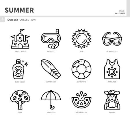 summer season icon set,outline style,vector and illustration Illustration