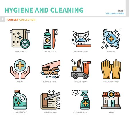 hygiene and cleaning icon set,filled outline style,vector and illustration Illustration
