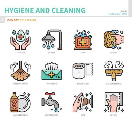 hygiene and cleaning icon set,filled outline style,vector and illustration Ilustração