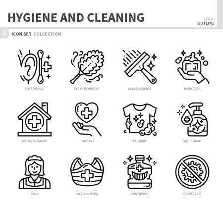 hygiene and cleaning icon set,outline style,vector and illustration Banco de Imagens - 150422837