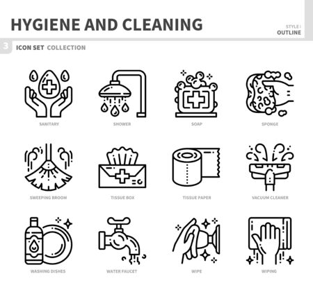 hygiene and cleaning icon set,outline style,vector and illustration Ilustração