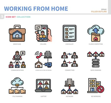 working from home icon set,filled outline style,vector and illustration