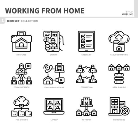 working from home icon set,outline style,vector and illustration Ilustração