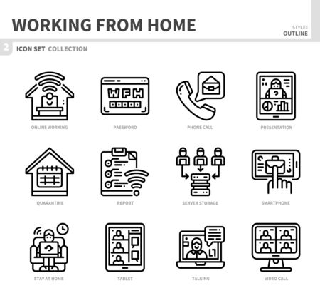 working from home icon set,outline style,vector and illustration Illustration