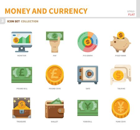 money and currency icon set,flat style,vector and illustration