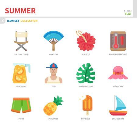 summer season icon set,flat style,vector and illustration