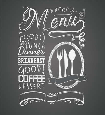 dessin craie: Illustration d'un �l�ment graphique de cru pour le menu sur le tableau noir