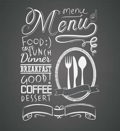 piatto cibo: Illustrazione di un elemento grafico annata per il menu sulla lavagna Vettoriali
