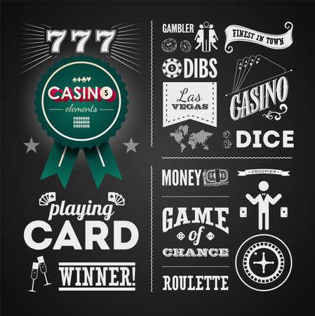 elementos: Ilustraciones de un Elementos vintage para casino en la pizarra