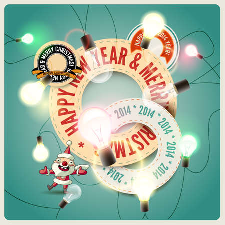 Christmas background with colorful garland  Vector illustration  Eps 10 Illustration