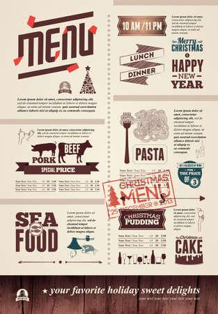 Christmas restaurant menu Illustration