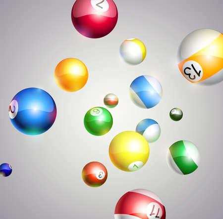 bola de billar: Vector de fondo con bolas de billar que vuelan Vectores