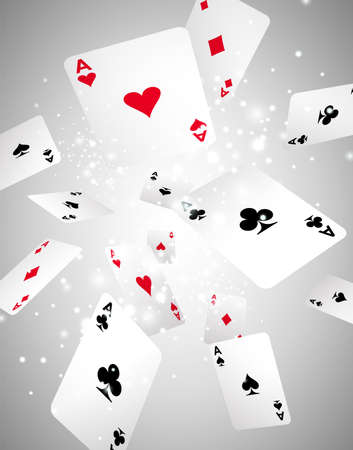 play card: Vector Illustration with flying playing cards