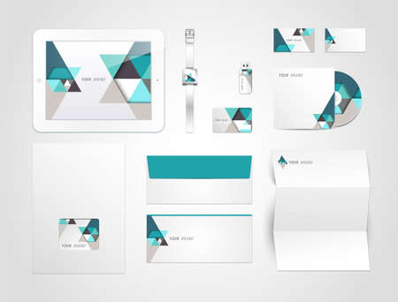 Corporate identity kit or business kit with artistic, abstract elements for your business Vector