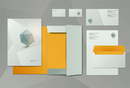Corporate identity kit or business kit for your business includes Business Card, Envelope and Folder for documents Vector