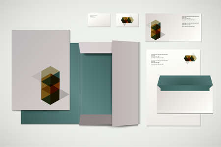 Corporate identity kit or business kit with abstract geometric elements for your business includes Folder for documents, Business Card, Envelope and Letter Head Designs Vector