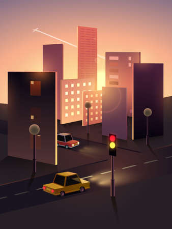 Morning cityscape of paper Vector