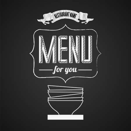 Illustration of a vintage graphic element for menu on blackboard Vector