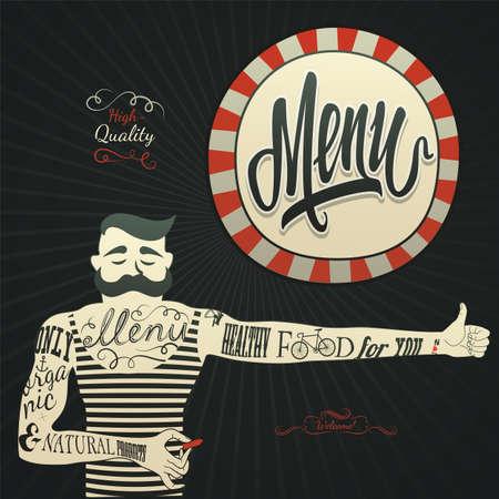 halÃĄl: Vintage grafikai elem a menüből