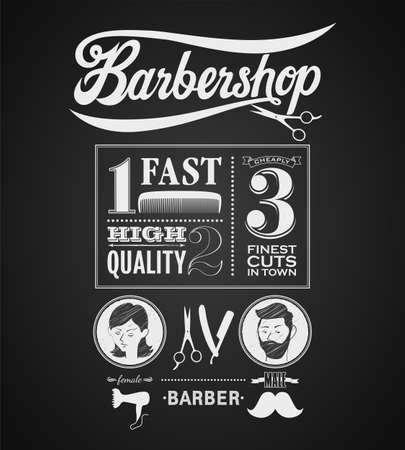 barbero: Ilustración de un elemento gráfico del vintage de la barbería en la pizarra