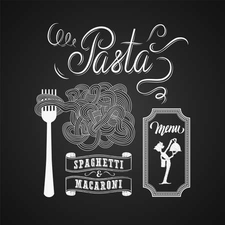 spaghetti dinner: Illustration of a vintage graphic element for menu on blackboard Illustration