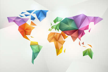 World map background in origami style  Vector background  Eps 10 Иллюстрация