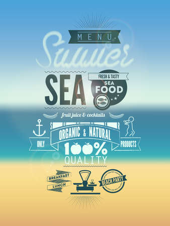 Summer Menu Poster  Vector illustration  Vector
