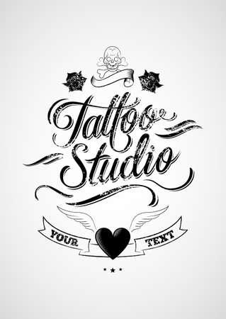 hand drawn wings: Tattoo Studio  Vintage typographic design elements  Illustration