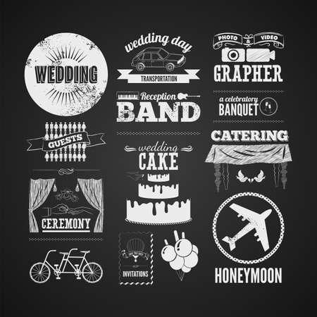 Set of wedding vintage typographic design elements on blackboard