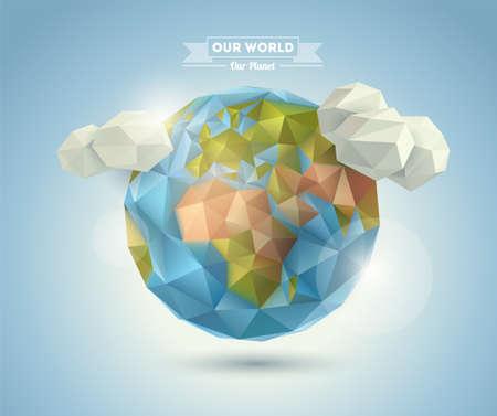 point chaud: fond du monde dans le style origami Vecteur de fond Eps 10